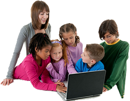 Children with teacher looking at computer